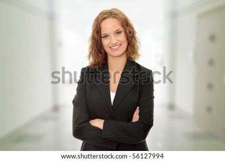 Young beautiful happy business woman - stock photo