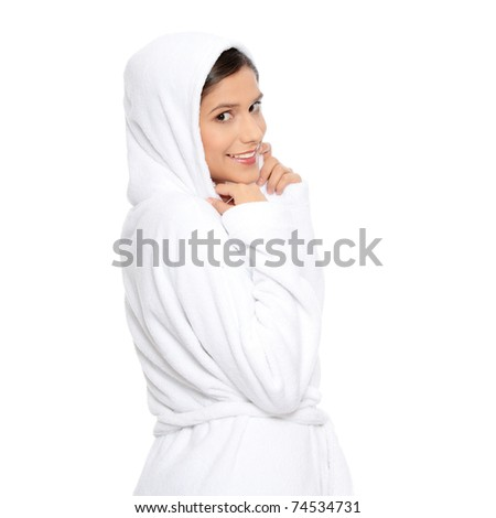 Young beautiful happy woman in bathrobe, isolated on white