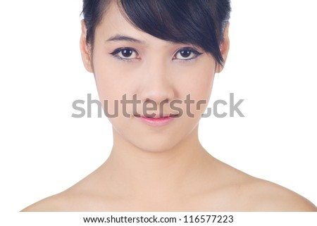 Young beautiful healthy asian woman on white background