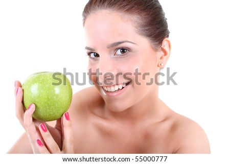 Young beautiful healthy woman with green apple