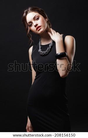 Young beautiful lady.Elegant fashionable woman. - stock photo