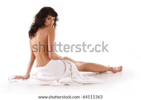 Young beautiful lady in towel