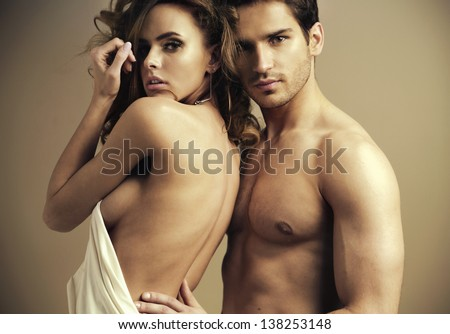 Young beautiful lovers - stock photo
