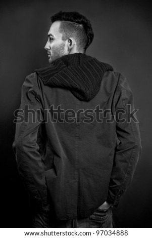 young beautiful man - back view - stock photo