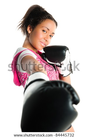 Young beautiful mixed race boxing teenager, punching and smiling - isolated on a white - stock photo