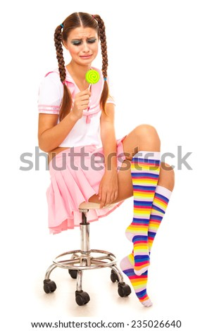 Young beautiful model in Barbie style - stock photo
