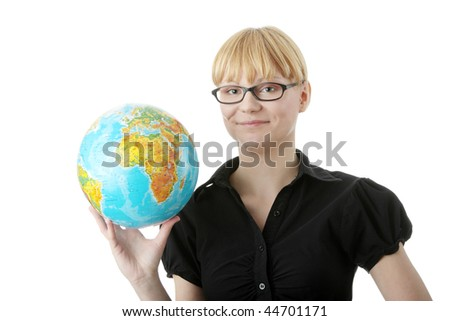 Young beautiful optimistic student woman with a globe, isolated on white