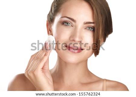 young beautiful perfect model applying professional makeup on white - stock photo