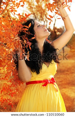 Young beautiful pregnant woman with long dark hair. autumn - stock photo