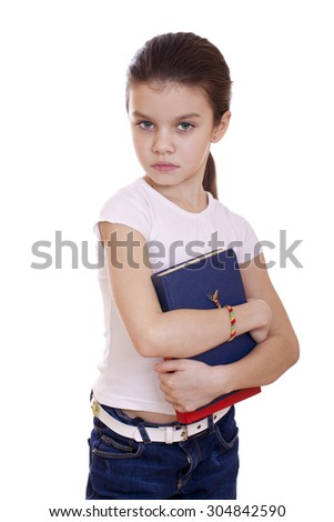 Young beautiful schoolgirl holds textbooks, isolated on a white background - stock photo