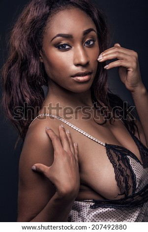 Young beautiful sexy African American woman. - stock photo