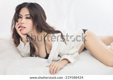 Young beautiful Sexy Asian woman - stock photo