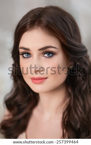 Young beautiful sexy brunette Europeans, closeup - stock photo