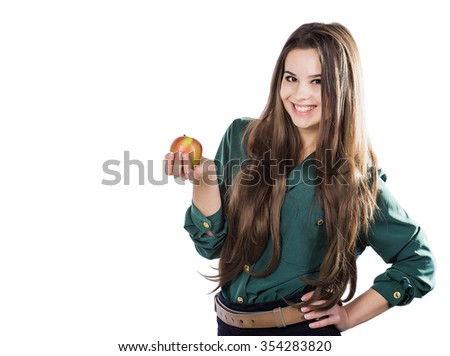 Young beautiful sexy girl with dark curly hair, holding big  apple to enjoy the taste and are dieting, healthy eating and organic foods, feeling temptation, smile, teeth. - stock photo
