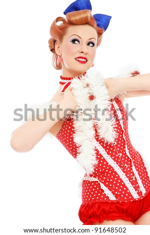 Young beautiful sexy happy smiling woman in red corset, over white background - stock photo