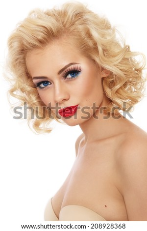 Young beautiful sexy retro girl with blond curly hair over white background - stock photo