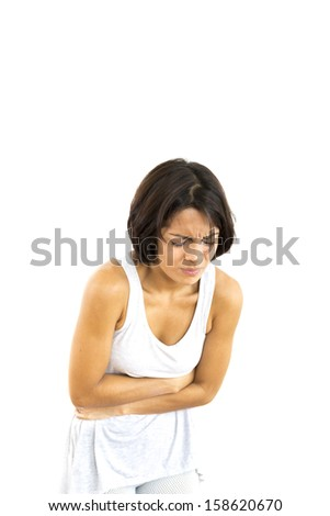 Young Beautiful Sick woman,  isolated on white - stock photo