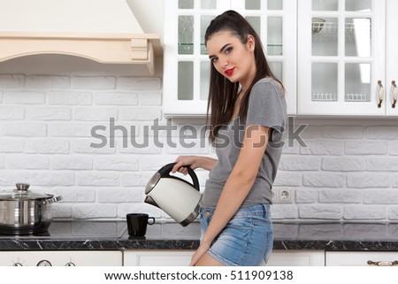 Young Beautiful Slim Girl Standing Kitchen Stock Photo 511909189 ...