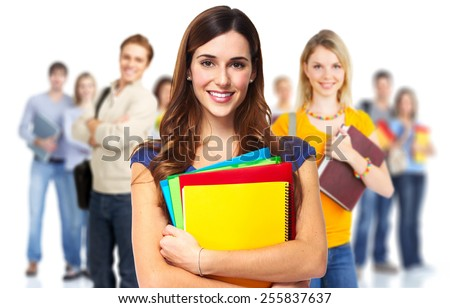 Young beautiful smiling students portrait. Education background.