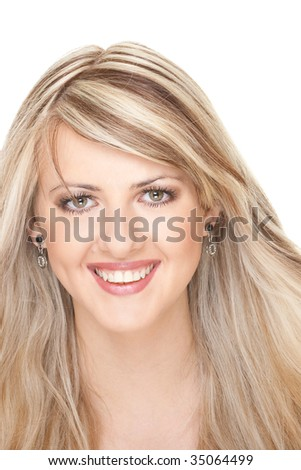young beautiful smiling woman with long blond hair