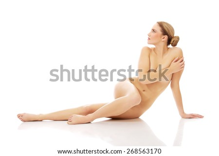 Young beautiful spa woman on the floor. - stock photo