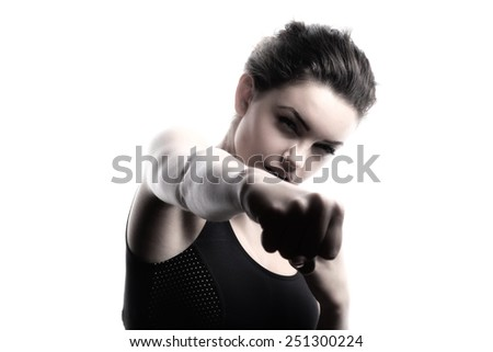 Young beautiful sport woman. black and white image. - stock photo