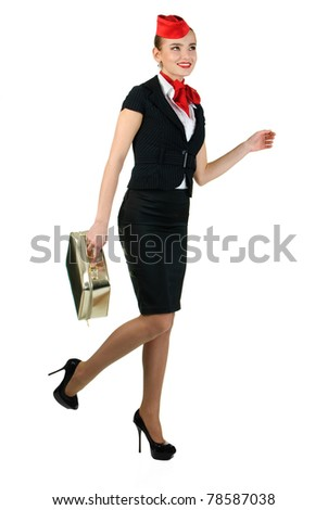 young beautiful stewardess