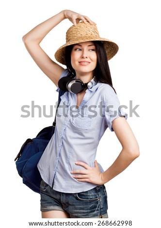 Young beautiful student going on a trip - stock photo