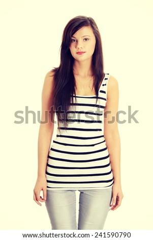Young beautiful teen woman portrait. - stock photo