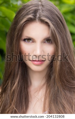 Young beautiful tender woman against tropical palms. Lovely sensual girl fashion outdoor portrait. Vogue style photo. - stock photo