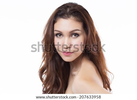Young beautiful thai female on white background