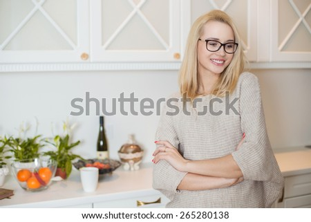 Young beautiful woman at home. Indoor portrait - stock photo