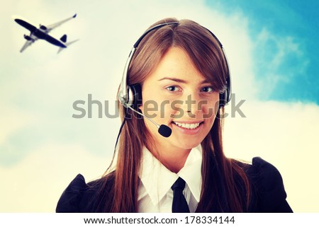 Young beautiful woman,call center worker  - stock photo