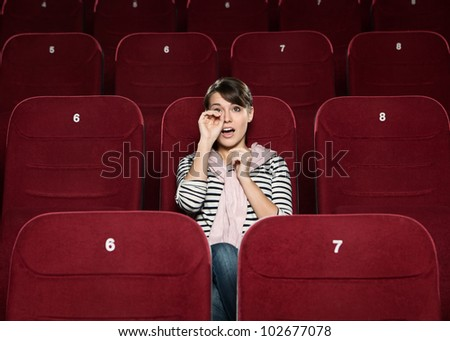 Young beautiful woman crying over love story - stock photo