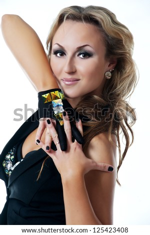 young beautiful woman dancing jazz modern dance - stock photo