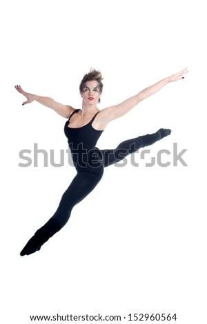 Young beautiful woman dancing jazz modern dance. Halloween