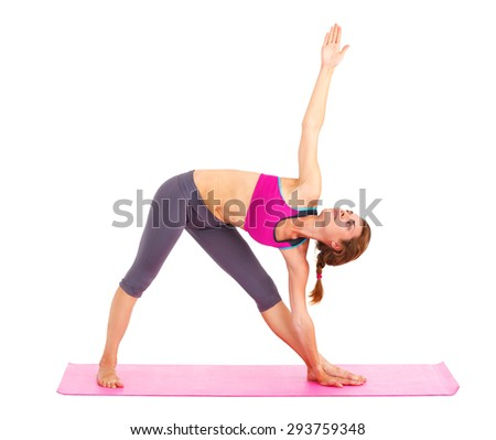 Young beautiful woman doing yoga - isolated on white. - stock photo
