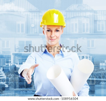 Young beautiful woman engineer. Industrial worker. - stock photo