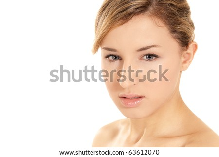 Young beautiful woman glamour beauty shot isolated on white background
