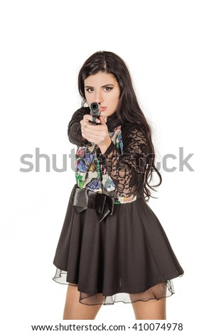 Young beautiful woman holding a handgun. war, army, weapon, technology and people concept. Image on a white background. - stock photo