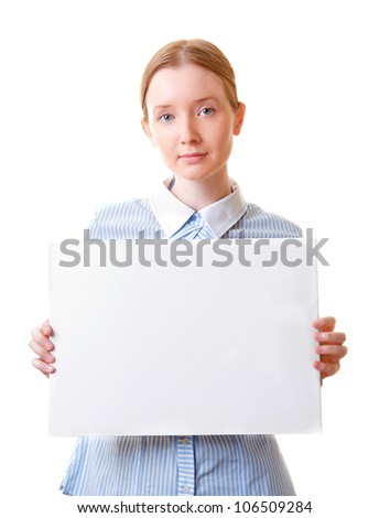 Young beautiful woman holding blank sign paper, isolated on white - stock photo