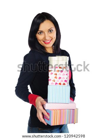Young beautiful woman holding lots of present boxes - stock photo