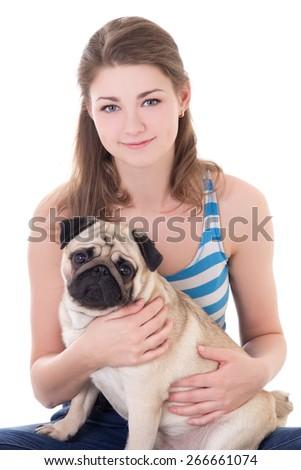 young beautiful woman holding pug dog isolated on white background - stock photo