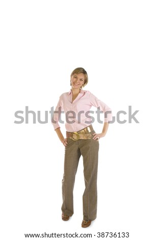Young beautiful woman in a pink shirt isolated over white - stock photo