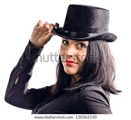 young beautiful woman in black tophat , isolated on white
