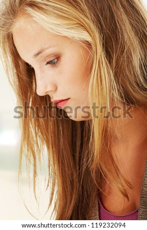 Young beautiful woman in depression. - stock photo