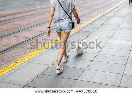 Young beautiful woman in jeans shorts walking down the empty city streets with her small white dog on a leash - stock photo