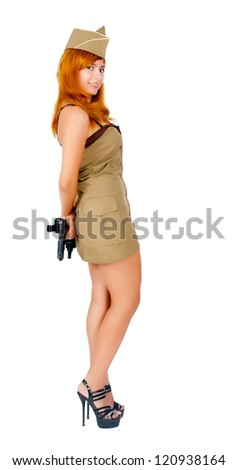 Young beautiful woman in military clothes. Isolated on white