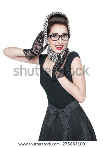 Young beautiful woman in retro pin-up style isolated over white - stock photo