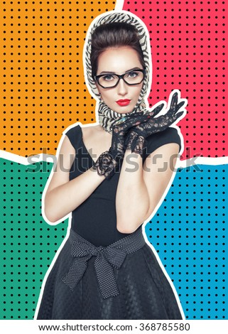 Young beautiful woman in retro pin-up style on halftone background - stock photo